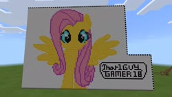 Size: 1920x1080 | Tagged: safe, artist:that1guygamer18, fluttershy, pegasus, pony, female, huge, looking at you, minecraft, minecraft pixel art, pixel art, smiling, solo, solo female, spread wings, username, wings