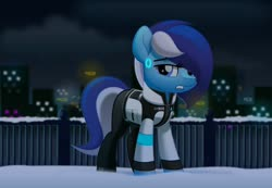 Size: 800x552 | Tagged: safe, artist:jhayarr23, oc, oc only, oc:brushie brusha, android, earth pony, pony, robot, robot pony, city, cityscape, clothes, cosplay, costume, detroit: become human, female, jacket, looking at you, mare, night, rk900, snow, solo