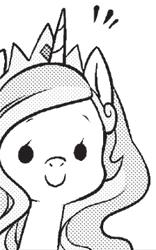 Size: 224x359 | Tagged: safe, seven seas, princess celestia, alicorn, pony, my little pony: the manga, spoiler:manga, spoiler:manga2, black and white, cute, cutelestia, dot eyes, grayscale, monochrome, simple background, solo, transparent background