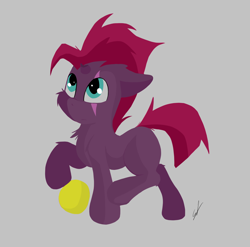 Size: 3376x3336 | Tagged: safe, artist:groomlake, fizzlepop berrytwist, tempest shadow, pony, unicorn, ball, broken horn, clothes, colored, female, filly, horn, looking up, mare, sad, sad face, scarf, simple, simple background, solo, solo female