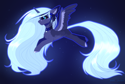 Size: 3000x2000 | Tagged: safe, artist:villjulie, princess luna, alicorn, pony, alternate hair color, bell, bell collar, bow, chest fluff, choker, coat markings, collar, colored hooves, colored wings, cute, ear fluff, ethereal mane, female, hair bow, high res, lunabetes, mare, multicolored wings, profile, solo, spread wings, stars, wings