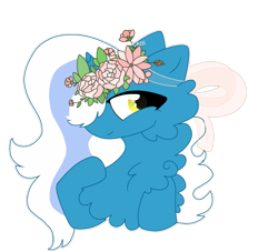 Size: 937x852 | Tagged: safe, artist:cottonkiss, oc, oc only, oc:fleurbelle, alicorn, alicorn oc, cheek fluff, chest fluff, crown, female, flower, flower in hair, horn, jewelry, mare, regalia, ribbon, simple background, solo, transparent background, wings, yellow eyes