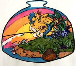 Size: 691x597 | Tagged: safe, artist:cailadelrose, artist:cailademint, oc, oc:ocean shore, pegasus, seal, flower, flower in hair, flying, freckles, ocean, pegasus oc, plumeria, socks (coat marking), sunset, terrarium, wings