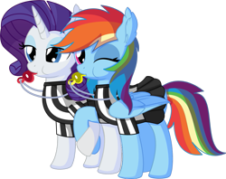 Size: 1003x796 | Tagged: safe, artist:cyanlightning (private commission), rainbow dash, rarity, pegasus, pony, unicorn, blowing whistle, buckball, clothes, commission, cute, dashabetes, female, friendshipping, mare, mascara, one eye closed, puffy cheeks, rainblow dash, rainbow dashs coaching whistle, raribetes, referee, referee shirt, simple background, skirt, that pony sure does love whistles, transparent background, vector, whistle, whistle necklace