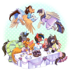 Size: 3379x3341 | Tagged: safe, artist:djkaskan, oc, oc:bluetec, oc:cold front, oc:disty, earth pony, pegasus, pony, unicorn, bloomers, bow, clothes, commission, cute, dress, earth pony oc, food, horn, lolita fashion, maid, maid headdress, male, oc x oc, pegasus oc, shipping, stallion, tea, tea party, teapot, unicorn oc, wings