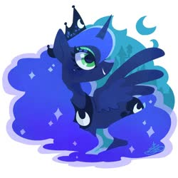 Size: 900x900 | Tagged: safe, artist:sibashen, princess luna, alicorn, pony, crescent moon, crown, cute, female, jewelry, lunabetes, mare, moon, profile, regalia, smiling, solo
