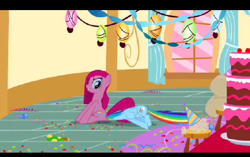 Size: 496x311 | Tagged: safe, screencap, pinkie pie, rainbow dash, party of one, angry, butt bump, butt smash, cake, confetti, food, pinkamena diane pie, pinkie pie's house, pinkie's party, sitting on, sitting on pony