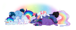 Size: 2800x1100 | Tagged: safe, artist:kraytt-05, oc, oc only, pegasus, offspring, parent:rainbow dash, parent:soarin', parents:soarindash, pony pile, siblings, simple background, sleeping, transparent background
