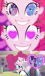 Size: 1280x2160 | Tagged: safe, edit, edited screencap, screencap, pinkie pie, trixie, twilight sparkle, coinky-dink world, equestria girls, no second prances, spoiler:eqg summertime shorts, female, lesbian, meme, pinkie's eyes, shipping, twixie