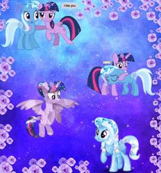 Size: 640x691 | Tagged: artist needed, safe, trixie, twilight sparkle, alicorn, crystal pony, collage, female, flower, lesbian, shipping, twilight sparkle (alicorn), twixie