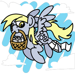 Size: 1920x1920 | Tagged: safe, artist:skookz, derpy hooves, pegasus, pony, /mlp/, abstract background, basket, cloud, cute, derp, female, flying, happy, mare, simple background, sky, solo, spread wings, toilet paper, transparent background, wings