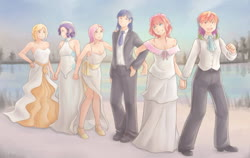 Size: 1425x900 | Tagged: safe, artist:ninjaham, applejack, fluttershy, pinkie pie, rainbow dash, rarity, shining armor, human, series:my little shining, alternate universe, clothes, dress, female, flutterarmor, harem, holding hands, humanized, male, marriage, polyamory, polygamy, rariarmor, shining armor gets all the mares, shiningdash, shiningjack, shiningpie, shipping, straight, suit, wedding, wedding dress