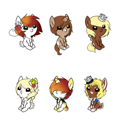 Size: 900x900 | Tagged: safe, artist:ad-opt, oc, oc only, earth pony, pegasus, pony, unicorn, baby, baby pony, colored hooves, crown, earth pony oc, flower, flower in hair, hair over eyes, jewelry, pegasus oc, regalia, simple background, sitting, transparent background, wings