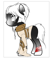 Size: 495x574 | Tagged: safe, alternate version, artist:ad-opt, oc, oc only, earth pony, pony, bondage, chains, collar, colored, earth pony oc, male, solo, stallion, straitjacket