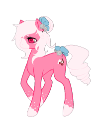 Size: 589x717 | Tagged: safe, artist:ad-opt, oc, oc only, oc:cherry cream, earth pony, pony, bow, colored hooves, earth pony oc, hair bow, raised hoof, simple background, solo, tail bow, transparent background