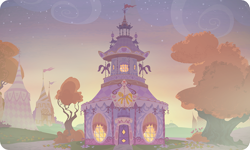 Size: 954x572 | Tagged: safe, artist:mysteriousshine, background, building, carousel boutique, no pony, outdoors, resource, tree, twilight (astronomy)