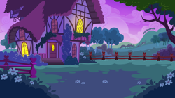 Size: 1136x640 | Tagged: safe, artist:mysteriousshine, background, building, bush, fence, flower, hill, house, no pony, outdoors, resource, tree, twilight (astronomy)