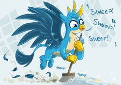 Size: 1542x1080 | Tagged: safe, artist:sintakhra, gallus, griffon, tumblr:studentsix, broom, chest fluff, cute, dust, feather, flying, gallabetes, male, singing, solo, sweeping, sweepsweepsweep