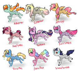 Size: 2300x2100 | Tagged: safe, artist:lavvythejackalope, oc, oc only, alicorn, earth pony, pegasus, pony, unicorn, alicorn oc, base used, colored hooves, crown, earth pony oc, eye clipping through hair, horn, jewelry, magical gay spawn, magical lesbian spawn, multicolored hair, offspring, parent:applejack, parent:big macintosh, parent:fluttershy, parent:king sombra, parent:pinkie pie, parent:princess cadance, parent:rainbow dash, parent:rarity, parent:shining armor, parent:trixie, parent:twilight sparkle, parents:appledash, parents:appleshy, parents:derpyshy, parents:pinkiedash, parents:rarimac, parents:shiningsombra, parents:trixmac, parents:twidance, parents:twinkie, pegasus oc, rainbow hair, regalia, running, simple background, smiling, sombra eyes, straw in mouth, unicorn oc, white background, wings