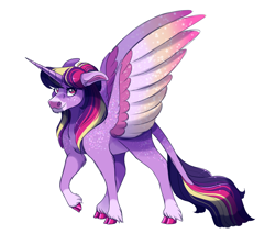 Size: 2000x1700 | Tagged: safe, alternate version, artist:uunicornicc, twilight sparkle, alicorn, pony, colored wings, colored wingtips, multicolored wings, simple background, solo, twilight sparkle (alicorn), white background, wings