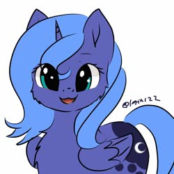Size: 1200x1200 | Tagged: safe, artist:latia122, princess luna, alicorn, pony, :3, cheek fluff, chest fluff, cute, female, filly, looking at you, lunabetes, mare, open mouth, s1 luna, simple background, solo, weapons-grade cute, white background, woona, ych example, younger, your character here