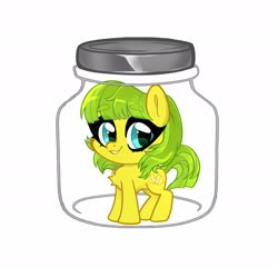 Size: 1800x1736 | Tagged: safe, alternate version, artist:techycutie, oc, oc only, oc:lemon drop, earth pony, pony, earth pony oc, female, implied cum jar, jar, mare, simple background, smiling, solo, white background, ych result