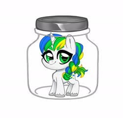 Size: 1800x1736 | Tagged: safe, alternate version, artist:techycutie, oc, oc only, oc:pixel shine, pony, unicorn, braid, female, horn, implied cum jar, jar, male, simple background, smiling, solo, stallion, unicorn oc, unshorn fetlocks, white background, ych result