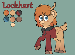 Size: 1363x998 | Tagged: safe, artist:retro_hearts, oc, oc only, oc:lockhart, deer, deer pony, original species, pony, blue eyes, clothes, cute, deer oc, freckles, hoodie, male, outline, reference sheet, simple background, smiling, solo
