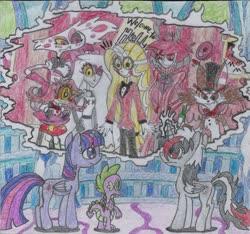 Size: 1771x1659 | Tagged: safe, artist:nephilim rider, spike, twilight sparkle, oc, oc:heaven lost, alicorn, dragon, alastor, angel dust, charlie (hazbin hotel), crossover, hazbin hotel, husk, niffty, traditional art, twilight sparkle (alicorn), vaggie, winged spike