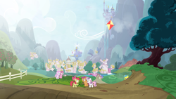 Size: 3840x2160 | Tagged: safe, artist:brutalweather studio, apple bloom, doctor whooves, lemon hearts, piña colada, roseluck, ruby pinch, scootaloo, sea swirl, seafoam, sweetie belle, time turner, earth pony, pegasus, pony, unicorn, ponyville's incident, airship, apple, apple tree, canterlot, cutie mark crusaders, female, filly, foal, kite, male, mare, ponyville, stallion, tree, twilight's castle, windmill