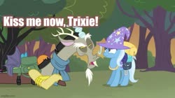 Size: 739x415 | Tagged: safe, edit, edited screencap, screencap, discord, trixie, to where and back again, caption, female, image macro, male, meme, shipping, straight, text, trixcord