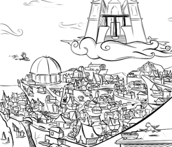 Size: 700x600 | Tagged: safe, artist:sirvalter, griffon, fanfic:steyblridge chronicle, black and white, castle, city, cloud, fanfic, fanfic art, grayscale, illustration, island, monochrome