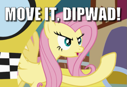 Size: 549x378 | Tagged: safe, edit, edited screencap, screencap, fluttershy, putting your hoof down, angry, caption, cropped, image macro, meme, road rage, solo, taxi, text