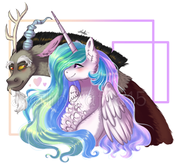 Size: 1006x932 | Tagged: safe, artist:malinraf1615, discord, princess celestia, alicorn, draconequus, pony, blushing, bust, chest fluff, dislestia, ear fluff, ethereal mane, female, fluffy, heart, looking at each other, male, mare, shipping, simple background, sparkly mane, straight, transparent background, watermark, wings