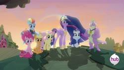 Size: 1920x1080 | Tagged: safe, edit, edited screencap, screencap, applejack, fluttershy, pinkie pie, rainbow dash, rarity, spike, twilight sparkle, alicorn, dragon, earth pony, pegasus, pony, unicorn, the last problem, female, gigachad spike, mane seven, mane six, older, older applejack, older fluttershy, older mane seven, older mane six, older pinkie pie, older rainbow dash, older rarity, older spike, older twilight, princess twilight 2.0, sunset, the hub, twilight sparkle (alicorn), winged spike