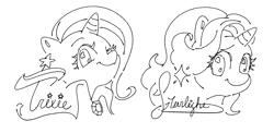 Size: 2460x1205 | Tagged: safe, artist:chapaghettii, starlight glimmer, trixie, pony, unicorn, monochrome, one eye closed, smiling, wink
