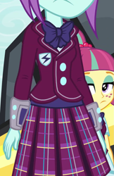 Size: 701x1080 | Tagged: safe, sour sweet, sunny flare, equestria girls, friendship games, bowtie, clothes, crystal prep academy uniform, female, freckles, plaid skirt, pleated skirt, school uniform, skirt, sunny flare's wrist devices