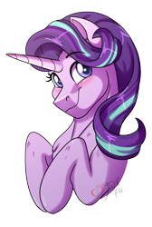 Size: 1347x2000 | Tagged: safe, artist:jack-pie, starlight glimmer, pony, unicorn, bust, cute, digital art, female, glimmerbetes, mare, signature, simple background, smiling, solo, transparent background