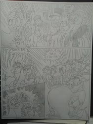 Size: 1944x2592 | Tagged: safe, artist:princebluemoon3, cosmos (character), oc, draconequus, earth pony, pegasus, pony, unicorn, comic:the chaos within us, black and white, cackling, camera, camera flashes, canterlot, canterlot castle, captive, chaos, comic, commissioner:bigonionbean, confused, dialogue, drawing, dream, female, giantess, gordon ramsay, grayscale, hat, inhaling, macro, magic, monochrome, night, nightmare, puffed chest, random pony, swelling, traditional art, writer:bigonionbean