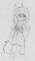 Size: 1436x2488 | Tagged: safe, artist:wapamario63, fluttershy, pegasus, pony, bipedal, bow, chest fluff, clothes, cute, dress, female, looking away, mare, monochrome, shyabetes, solo, traditional art