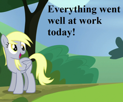 Size: 864x720 | Tagged: safe, edit, edited screencap, screencap, derpy hooves, rock solid friendship, cropped, cute, derpabetes, speech, tree