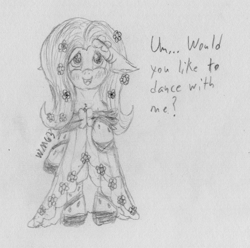 Size: 1875x1860 | Tagged: safe, artist:wapamario63, fluttershy, pegasus, pony, bipedal, blushing, clothes, cute, dialogue, dress, female, floppy ears, flower, flower in hair, gala dress, mare, monochrome, shyabetes, solo, traditional art