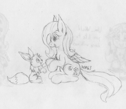 Size: 2640x2280 | Tagged: safe, artist:wapamario63, fluttershy, eevee, pegasus, pony, cute, daaaaaaaaaaaw, female, mare, monochrome, pokémon, sitting, traditional art