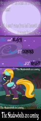 Size: 1024x3012 | Tagged: safe, artist:killkatt, lightning dust, pegasus, pony, butt, clothes, comic, digital art, everfree forest, female, mare, moon, night, plot, shadowbolts, solo, suit, tail, text, tree, wings
