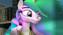 Size: 1500x843 | Tagged: safe, artist:jeroen01, princess celestia, twilight sparkle, alicorn, pony, 3d, 3d model, building, duo, eye contact, female, giant pony, giantess, giantlestia, looking at each other, macro, mare, size difference, twilight sparkle (alicorn)