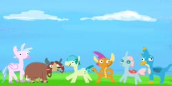 Size: 1440x720 | Tagged: safe, artist:tjpones, gallus, ocellus, sandbar, silverstream, smolder, yona, changedling, changeling, dragon, earth pony, griffon, hippogriff, pony, yak, female, male, stallion, student six, stylistic suck, white background