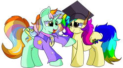 Size: 1280x712 | Tagged: safe, artist:rainbowtashie, cheerilee, ms. harshwhinny, spitfire, trixie, oc, oc:princess sincere scholar, oc:rainbow tashie, alicorn, earth pony, pony, clothes, commissioner:bigonionbean, crying, cutie mark, female, fusion, fusion:princess sincere scholar, graduation cap, hat, mare, simple background, tears of joy, teary eyes, transparent background, writer:bigonionbean