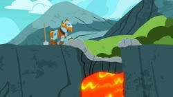 Size: 1280x720   Tagged: safe, screencap, rockhoof, campfire tales, lava, male, shovel, solo, stallion