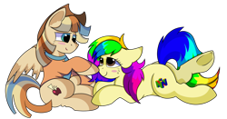 Size: 1280x672 | Tagged: safe, artist:rainbowtashie, braeburn, wind waker (character), oc, oc:spicy cider, earth pony, pegasus, pony, blushing, boop, clothes, commissioner:bigonionbean, cowboy hat, cute, cutie mark, dawwww, dummy thicc, fusion, fusion:spicy cider, hat, in love, jumpsuit, love, romantic, simple background, stetson, transparent background, writer:bigonionbean