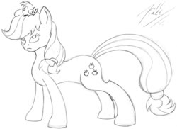 Size: 1024x745 | Tagged: safe, artist:killkatt, applejack, bird, earth pony, pony, cutie mark, monochrome, simple background, solo, traditional art, white background